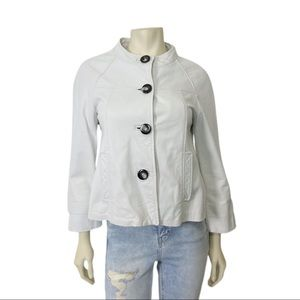 Vintage y2k white leather jacket no collar chunky